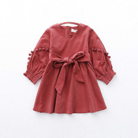 Kids Girls Dresses 2018 New Autumn Solid Princess Long Sleeves Pullovers Bow Kont Ball Gown Dresses Baby Girls Clothing 6ds003