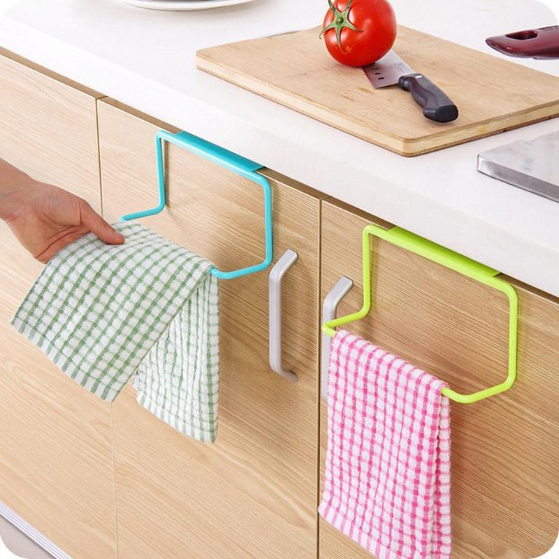 Cupboard Towel Rack Sponge Holder Kitchen Organizer Hanging Towel Holder Cabinet Door Back Organizer Storage Holder Shelf