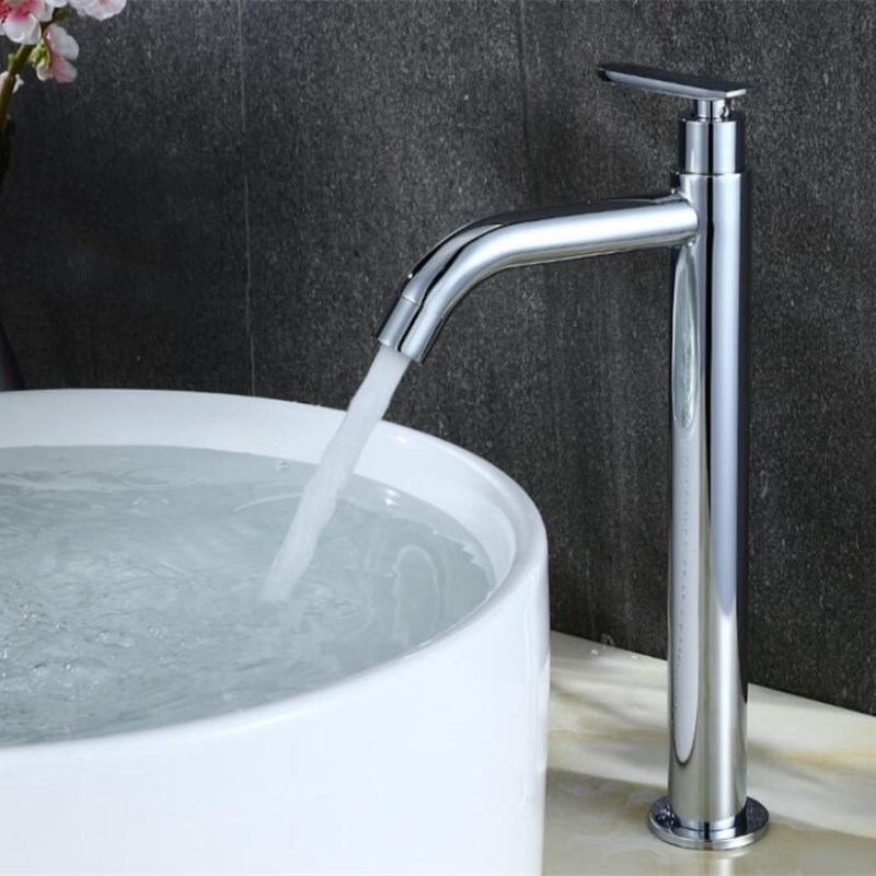 Chrome Bathroom Sink Faucet Bathroom Single Cold Water Mixer Tap Single Handle Single Cold Basin