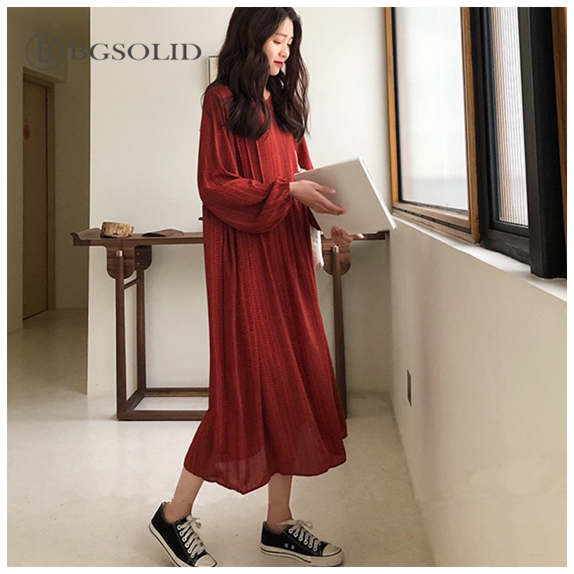 Retro ethnic style loose show thin long-sleeved dress women's spring wear Korean version