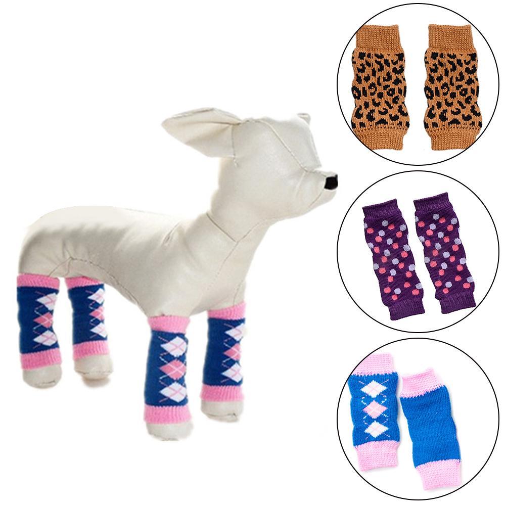4Pcs/Set Warm Autumn Winter Pet Dog Leg Warmers Socks Printed Non-slip Leopard Dots Leg Dog Clothes Dog Accessories Dog Socks