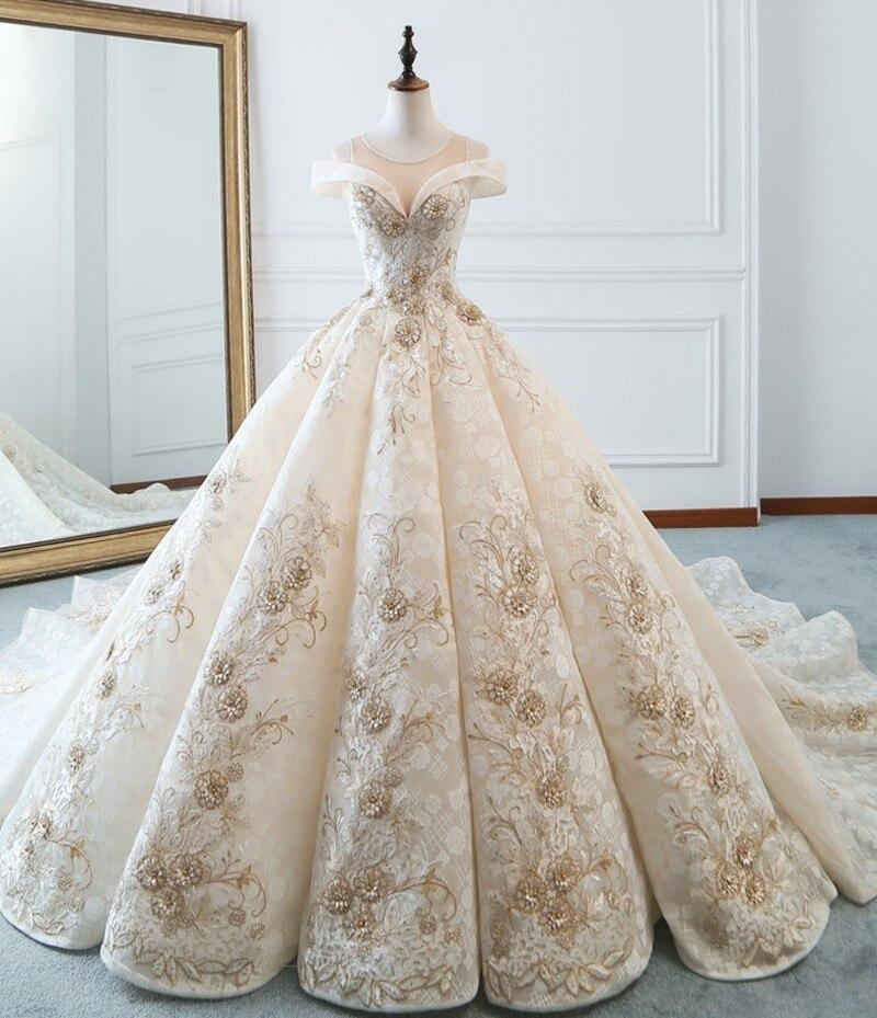 Robe Le De Bal Noiva Princesse Picture L\u0027épaule Arabe Robes Mariage Color 2019  Mariée Appliques
