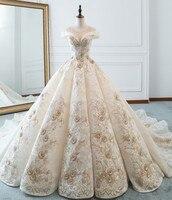 Vestido de Noiva аппликации кружево Принцесса платья для женщин свадьбы 2019 с открытыми плечами Embirodery бальное платье арабский свадебное