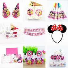 Minnie Mouse Birthday Party Decoration kids Cup Plate Napkin Banner Straws tablecloth Baby Shower Supplies favors gifts