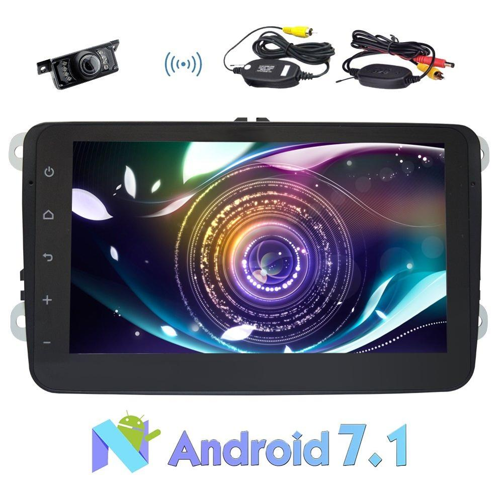 Car Stereo Android 7.1 Double Din 8 Autoradio Head Unit for VW Support Mirror Link,Bluetooth,Radio,Video Out+Wireless Camera