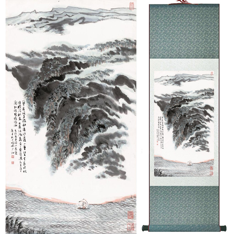 landscape painting Home Office Decoration Chinese scroll painting mountain and River paintingPrinted painting060503