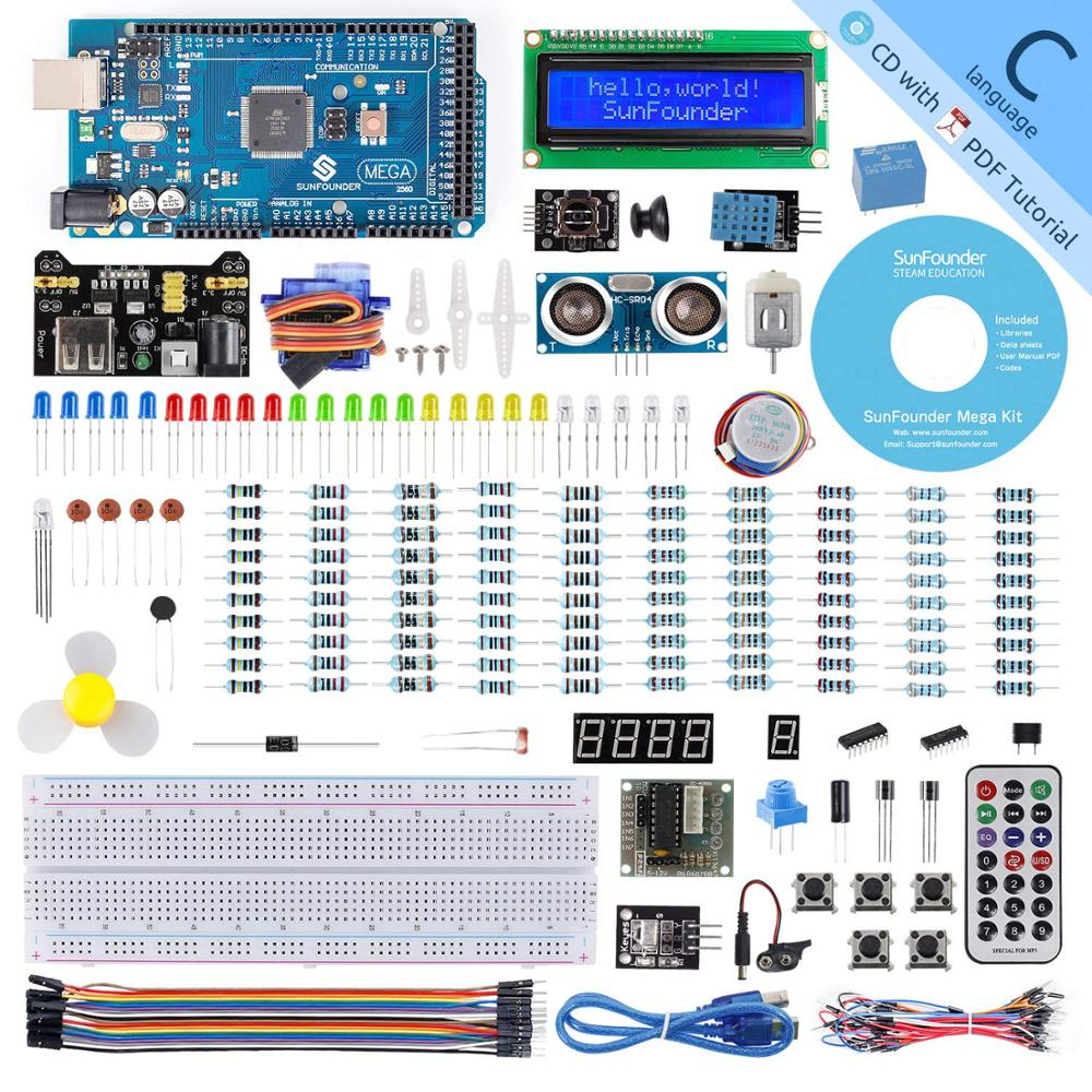 SunFounder Mega 2560 R3 Project Starter Kit For Arduino UNO R3 Mega2560 Mega328 Nano+26 Tutorials+LED+resistor+CD