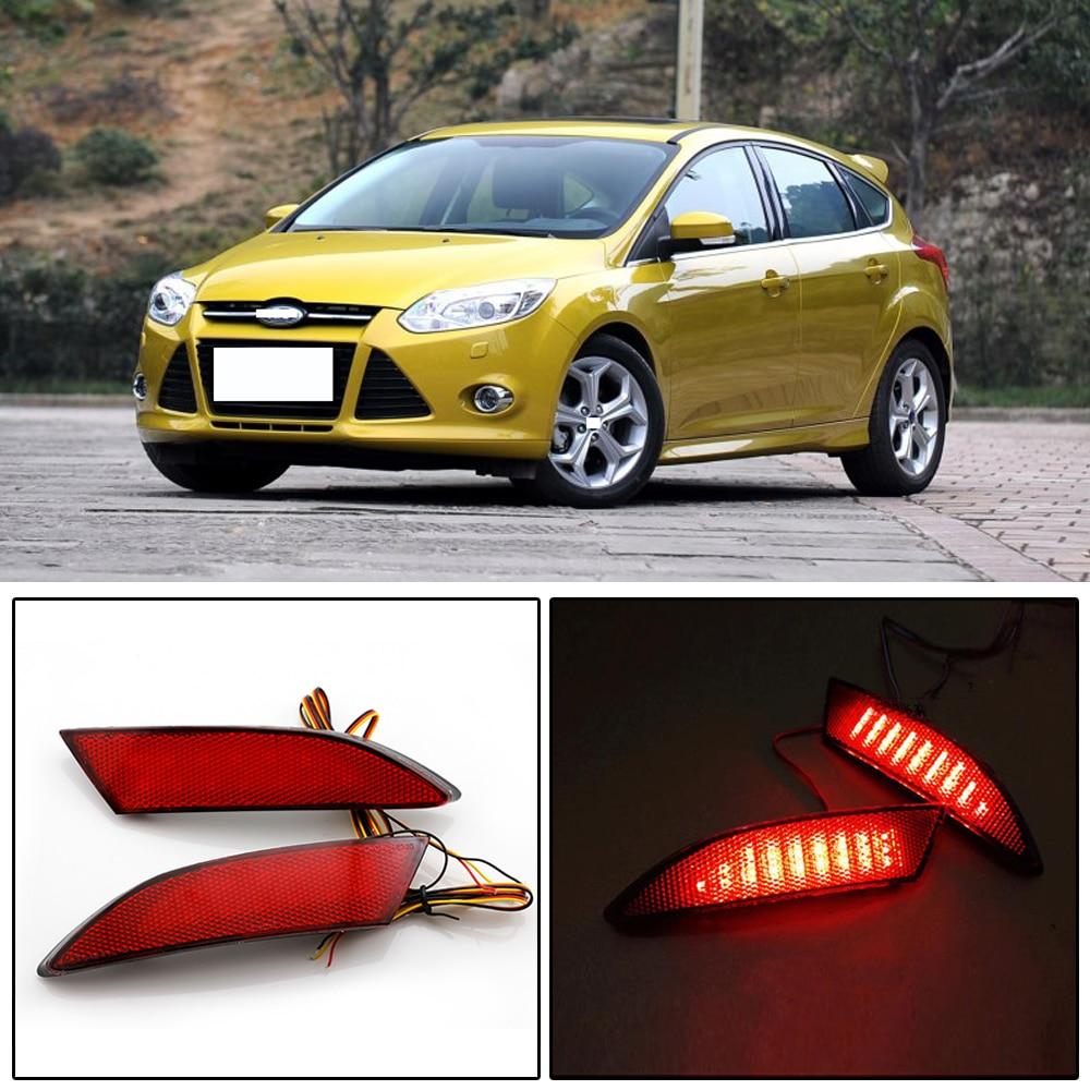 Red Rear Bumper Reflector Light Lamp Pair for Ford Fiesta sedan 2013-2015