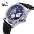 SHENHUA Luxury Brand Watch Tourbillon Automatic Mechanical Skeleton Watches Men Moon Phase Watch Leather Band relogio masculino