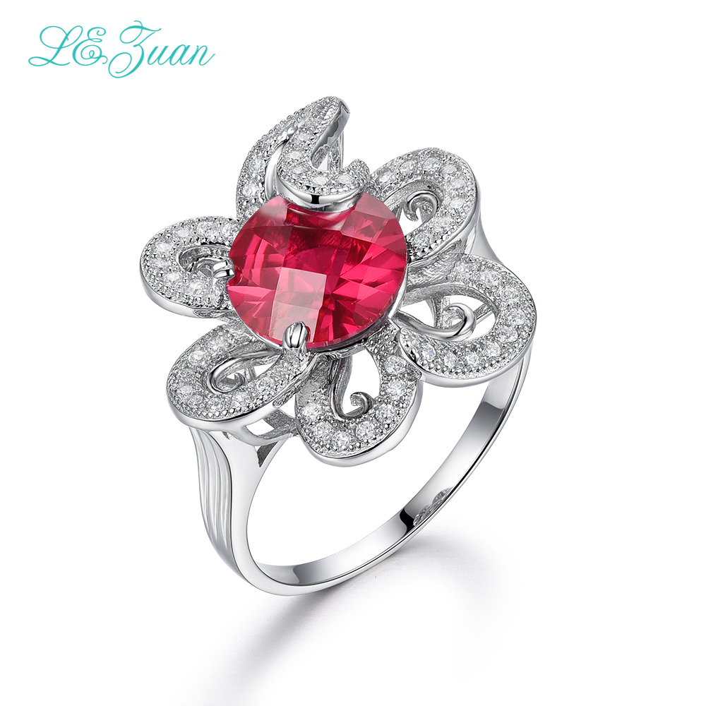 L&zuan 925 Sterling Silver Rings 8.23ct Red Stone Checkerboard Cut Romantic Luxury Ring Fine Jewelry For Women