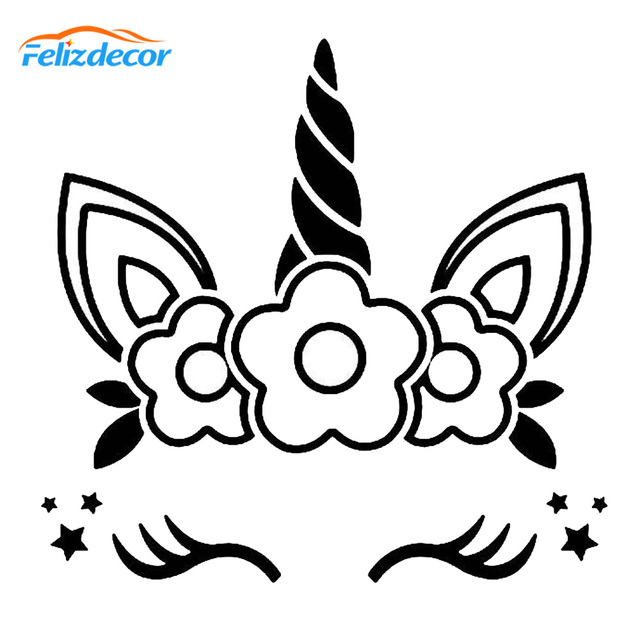 12 12cm Cute Unicorn Face With Flowers Vinyl Decal For