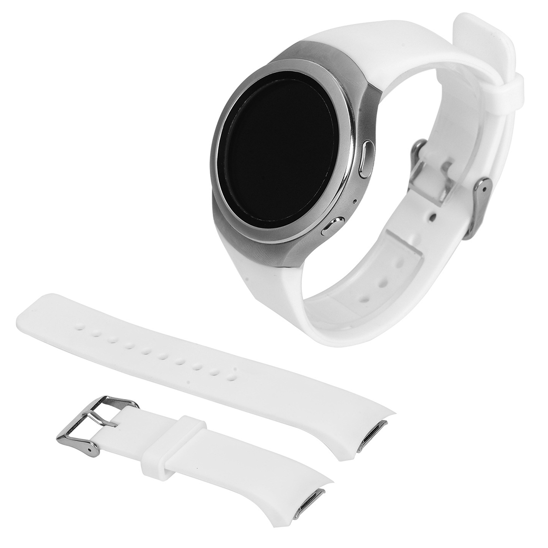 Luxury Silicone Watch Band Strap for Samsung Galaxy S2 Gear SM-R720 white luxury silicone watch replacement band strap for samsung gear fit 2 sm r360 wristband 100