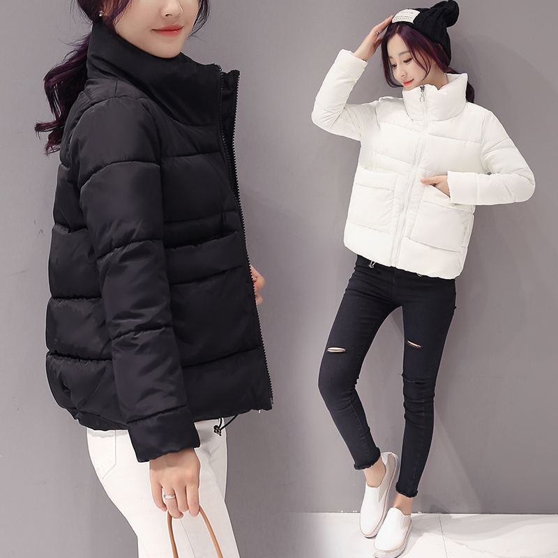 2019 Jacket Women Winter Fashion Warm Thick Solid Short Style Cotton Padded Parkas Coat Stand Collar XL XXL(China)