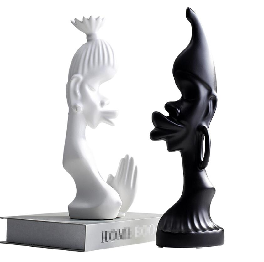 Black and White Couple Ceramic Figure Decoration Handmade Crafts Ornaments Art Sculpture Home Furnishing DecorBlack and White Couple Ceramic Figure Decoration Handmade Crafts Ornaments Art Sculpture Home Furnishing Decor