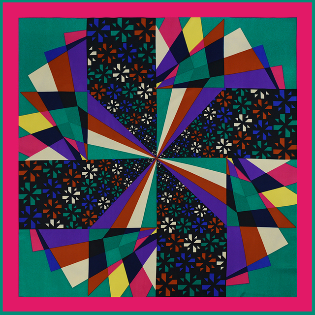 Large Silk Scarf Geometric Diamond | Lightweight Scarves | Up to 60% Off Now