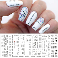 1 Sheet Letter Nail Art Water   Decals   Geometric Figure Nail Transfer   Stickers   Manicure Paper DIY Nail Decoration DS306