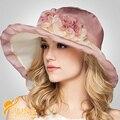2016 nueva señora del sombrero de ala ancha seda cristalinos de moda sombrero iglesia sombrero nupcial para la boda fuera viajar casquillo B-3197