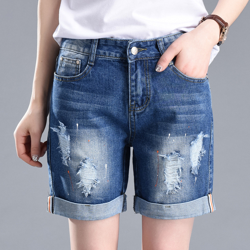 Pounds Plus Size Women Denim Shorts High Waist Vintage Summer Shorts New Fashion Ripped Holes Women Jeans