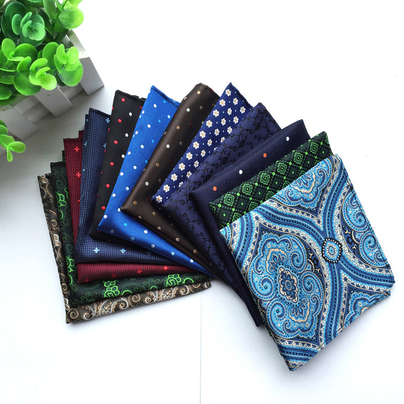 Fashion High Quality Men Paisley Grid Hankerchief For Suit Pocket Scarves Silk Hankies 25*25cm Popular Gift  Hanky  Jacquard