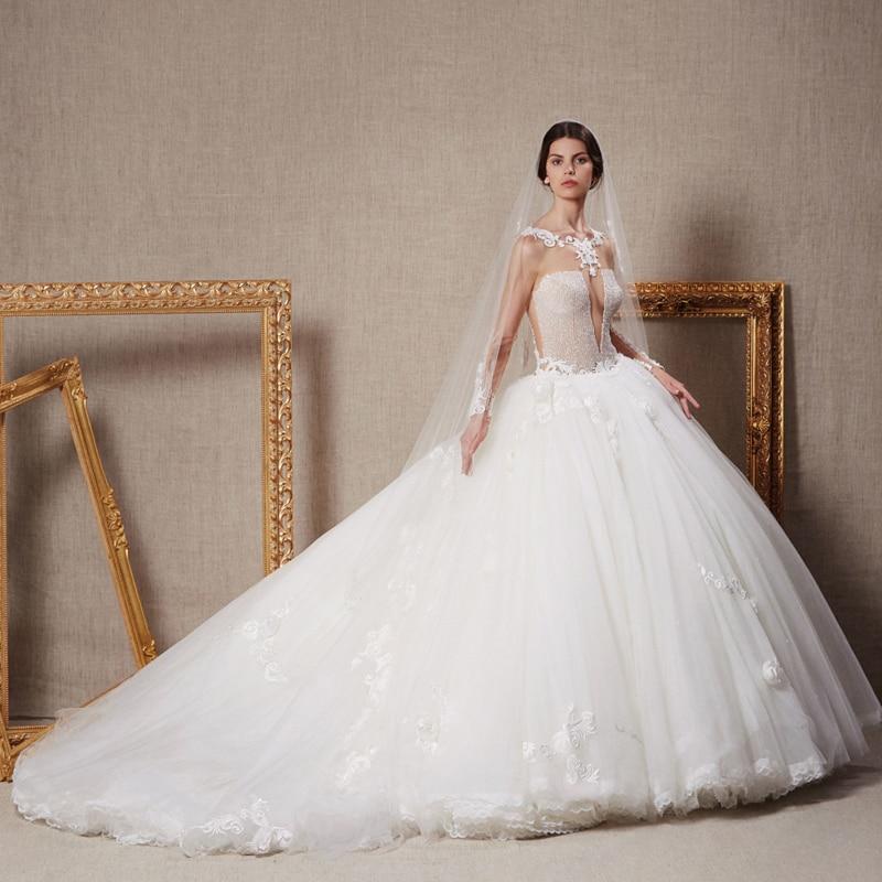 Noble Cathedral/Royal Train Wedding Dresses 2017 Casamento