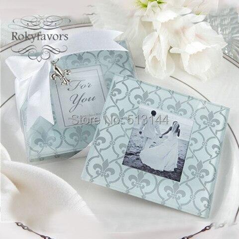 Free Shipiing 100pcs 50sets Fleur De Lis Gl Coaster Wedding Favors Party Shower Photo