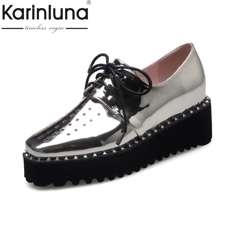 Фотография Karinluna 2018 Square Toe Lace Up Leisure Women Pumps Woman Platform Shoes Woman Comfortable Fashion Shoes