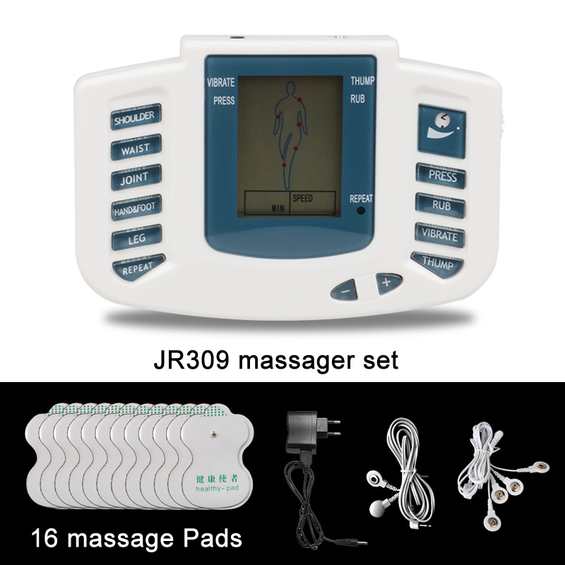 JR309 Health Care Electrical Muscle Stimulator Massageador Tens Acupuncture Therapy Machine Slimming Body Massager 16pcs pads 2017 hot sale mini electric massager digital pulse therapy muscle full body massager silver