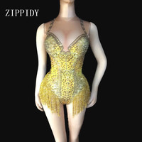 Sexy Gold Fringe Leotard Nude Spandex One Piece Rhinestones Costume Stage Performance Dance Wear Singer Pole