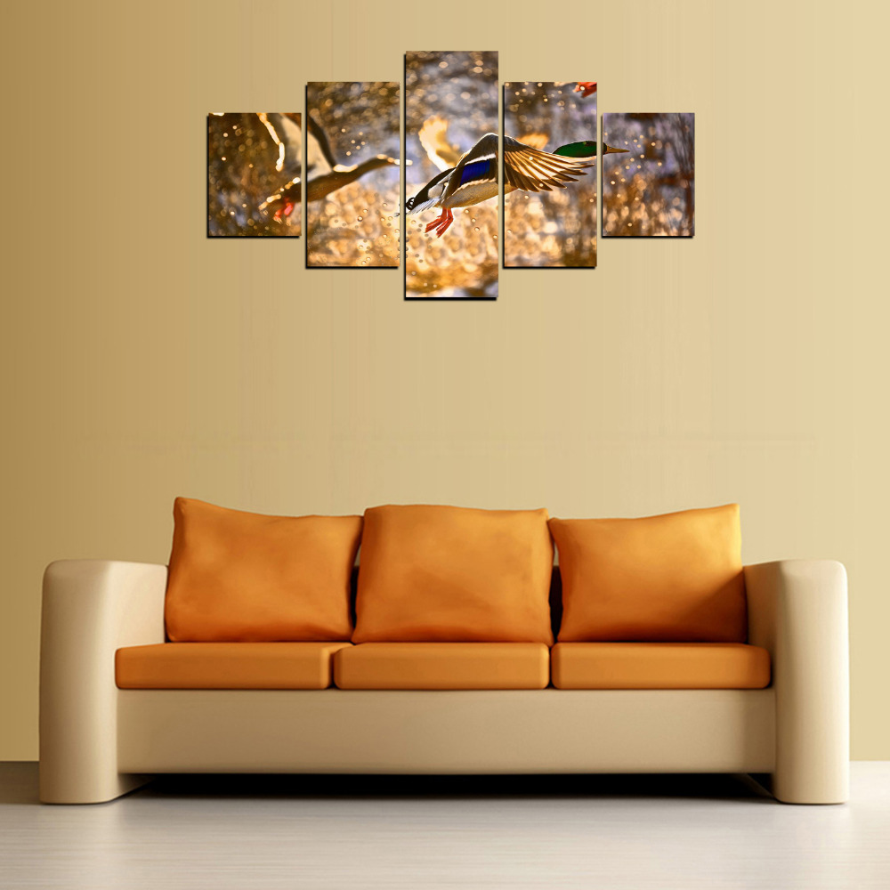 5 Panels Print Canvas Prints Wild Duck Painting for Living Room Wall ...