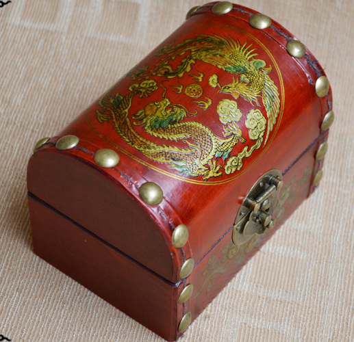 2017 Christmas BEST present--- retro vintage propitious dragon and phoenix red wood Jewel Jewelry Box