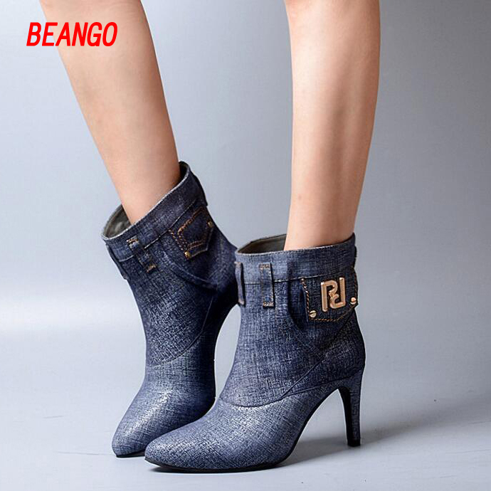 BEANGO European 2017 Women ankle slip on chelsea pointed toe high heel boots cowboy lady short boots winter martin boots british стоимость