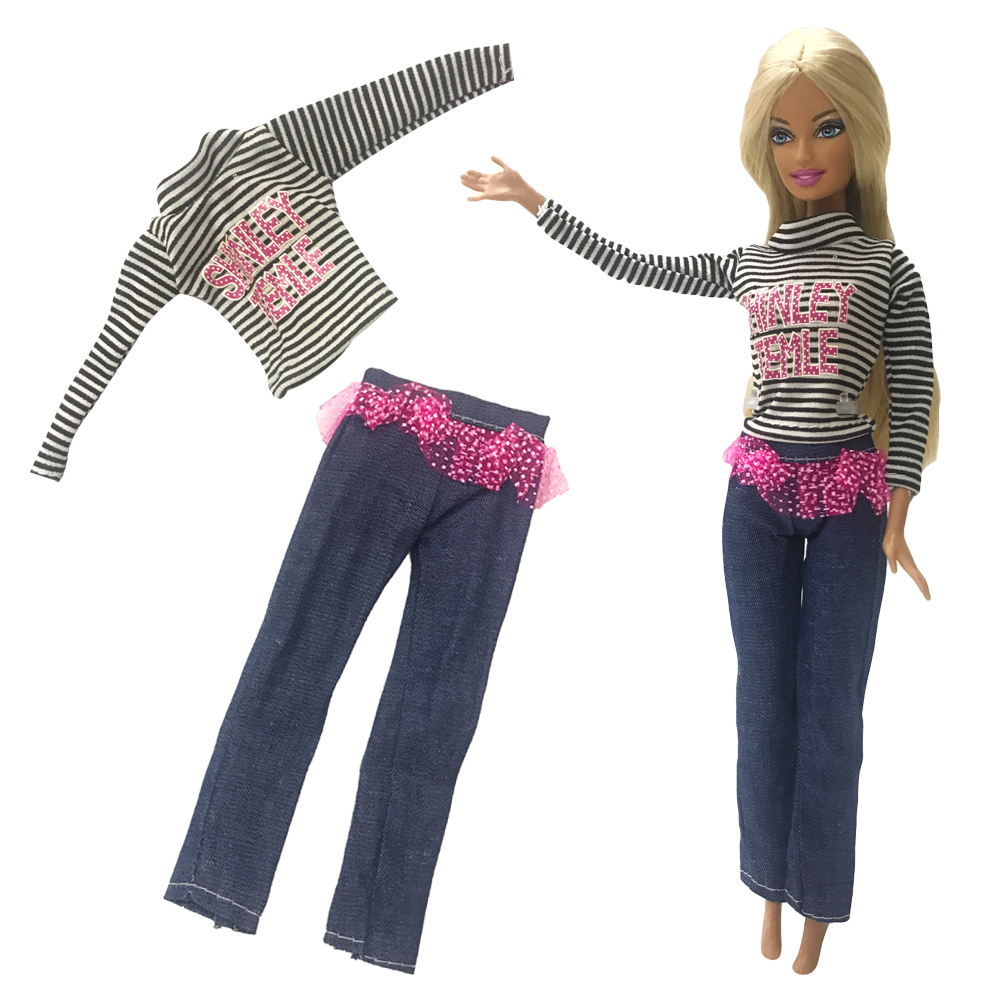 NK One Set  Doll outfit Long jeans trousers Dress  Fashional  Design Handmade Party Outfit For Barbie Doll 30 new styles festival gifts top trousers lifestyle suit casual clothes trousers for barbie doll 1 6 bbi00636