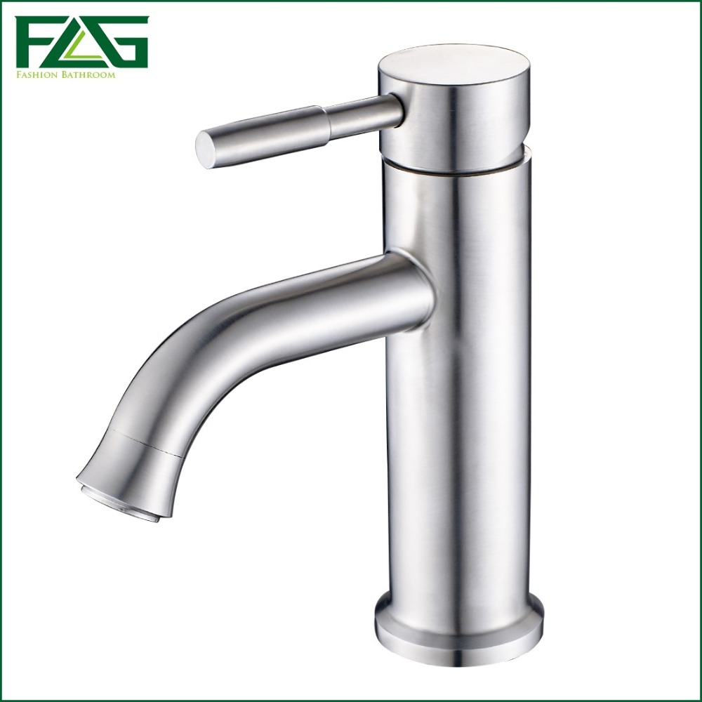 ФОТО FLG Cheap Bath Mat Cold & Hot Deck Mounted 304 Stainless Steel Basin Faucet Griferia Lavabo Soild Brass Mitigeur Lavabo SS003X