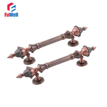 2pcs Zinc Alloy Red Antique Copper Door Handles Pull 190mm Hole Pitch Handle for Interior Doors Bedroom Gate Shopping mall