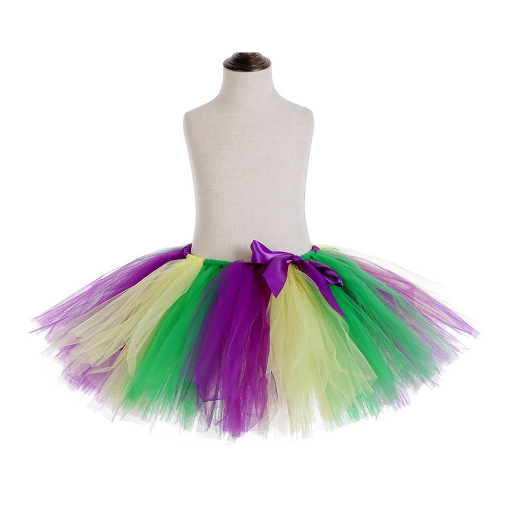 Rainbow Skirt Knee Length Nylon Mesh Tulle Skirt Kids Back to School Costume Happy Easter Party Tutu Skirt with Ribbon Bowknot (11)