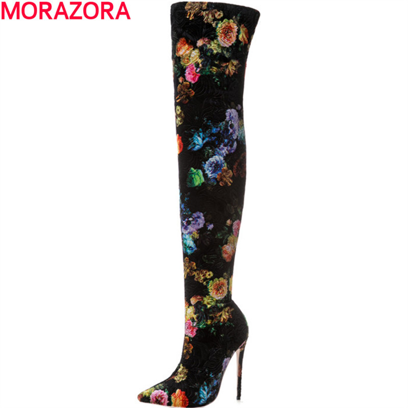MORAZORA new arrival knee boots fashion hot sale autumn winter high heels shoes boots female big size 34-43MORAZORA new arrival knee boots fashion hot sale autumn winter high heels shoes boots female big size 34-43