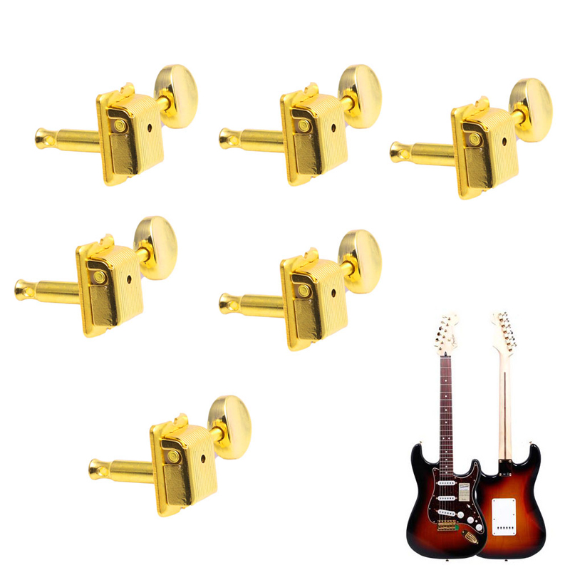 6 In Line Nickel Vintage For Fender Style Machine Heads Tuning Pegs For Strat Hot fender am pro strat hss shaw rw bk