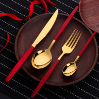 16/24PCS Red Gold Cutlery Stainless Steel Flatware Set Dinner Knife Spoon Fork Set Kitchen Tools Dinnerware Christmas Gifts