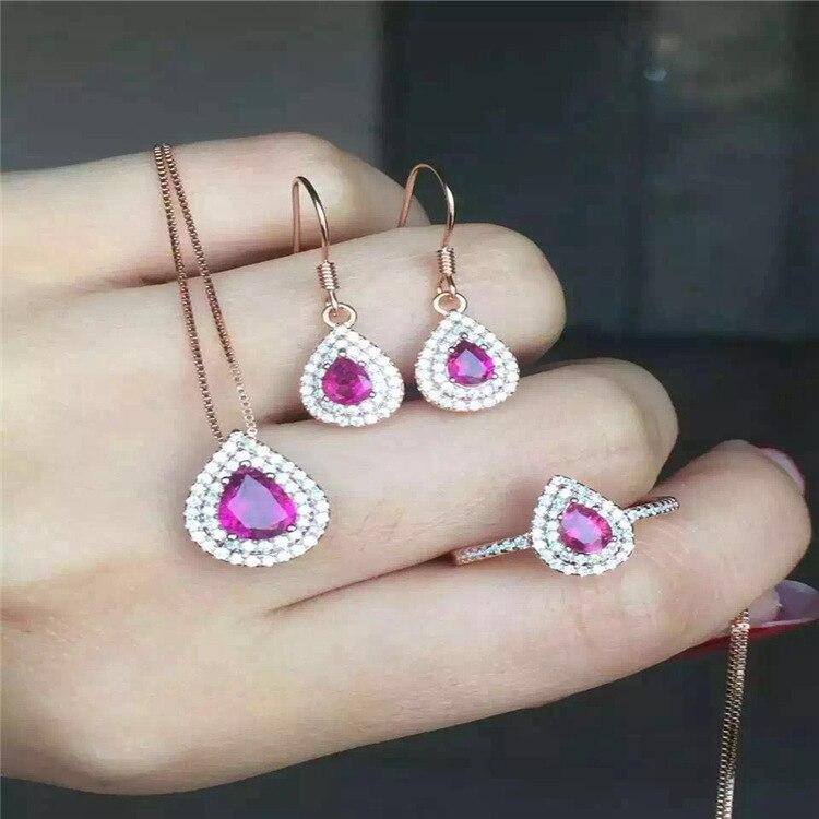 2016 fashion 925 sterling silver jewelry set natural Tourmaline Earrings Ring Pendant premium set free shipping