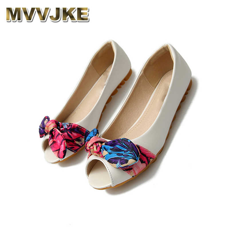MVVJKE 11 bow designer gold china peep toe women flats shoes with little cute bowtie kawaii white large size chinese sandals