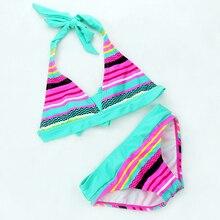 Baby Girls 2 Pieces Swimwear Girls Bikini Set 8-16Y Kid Swim wear Multicolored Striped Children Bathing Suit