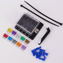 Car Auto 10 Way Fuse Holder with LED Indicator with 10 pcs medium fuse,fuse puller and 10 terminals(China)