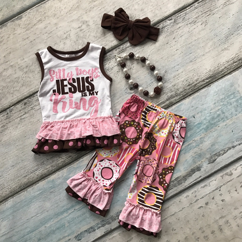 Summer baby girls outfits capris ruffles Doughnut cotton Jesus is my king boutique clothes kids sets cute matching accessories 2pcs ruffles newborn baby clothes 2017 summer princess girls floral dress tops baby bloomers shorts bottom outfits sunsuit 0 24m