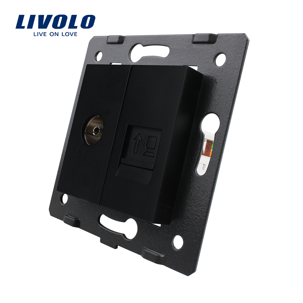 Manufacture Livolo, 2 Gangs Wall Computer and TV Socket / Outlet VL-C7-1VC-12, Without Plug adapter