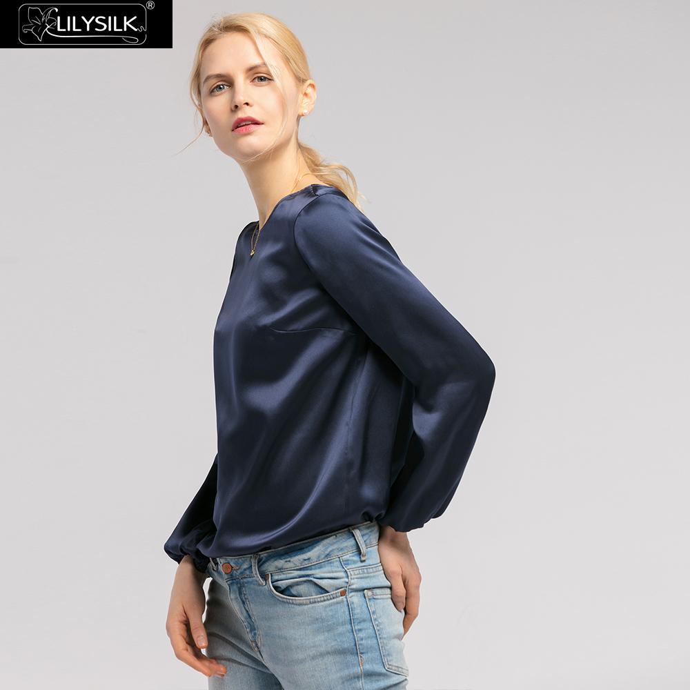 LilySilk bluzka koszula jedwabiu dla kobiet elegancki okrągły dekolt 22 momme letnie damskie darmowa wysyłka w Bluzki i koszule od Odzież damska na  Grupa 3