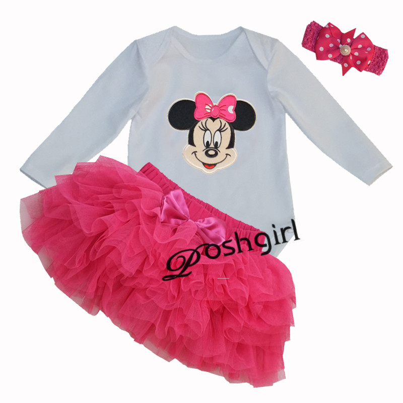 Infant Girl Clothes Party Costume Newborn Baby Romper Dress Minnie Mickey Tutu Dress Baby Girl Climbing Bebe 1st Birthday Gift pink 1st birthday outfits for girls newborn infant lace tutu dress romper set 2017 vestido infantil toddler romper dress clothes