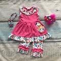 Meninas do bebê pintinho Páscoa design meninas roupas crianças boutique de roupas de festa de bolinhas babados capri algodão roupa com acessórios