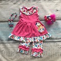 Niñas bebés ropa de diseño del polluelo de Pascua niñas niños boutique de ropa de fiesta de volantes de lunares de algodón capri atuendo con accesorios