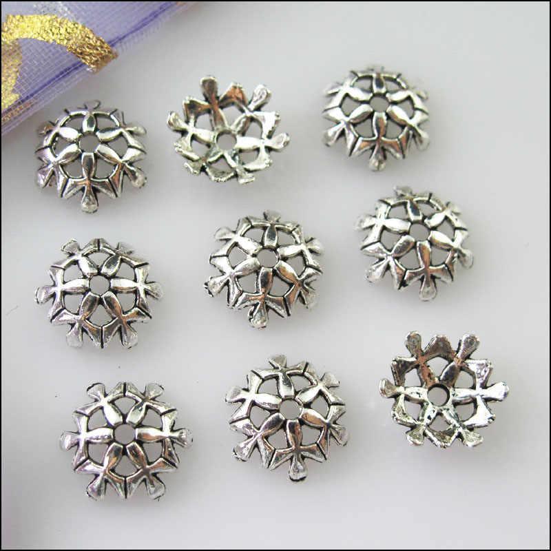 30 sztuk tybetański srebrny płatek śniegu kwiat koniec koralik czapki złącza 10mm