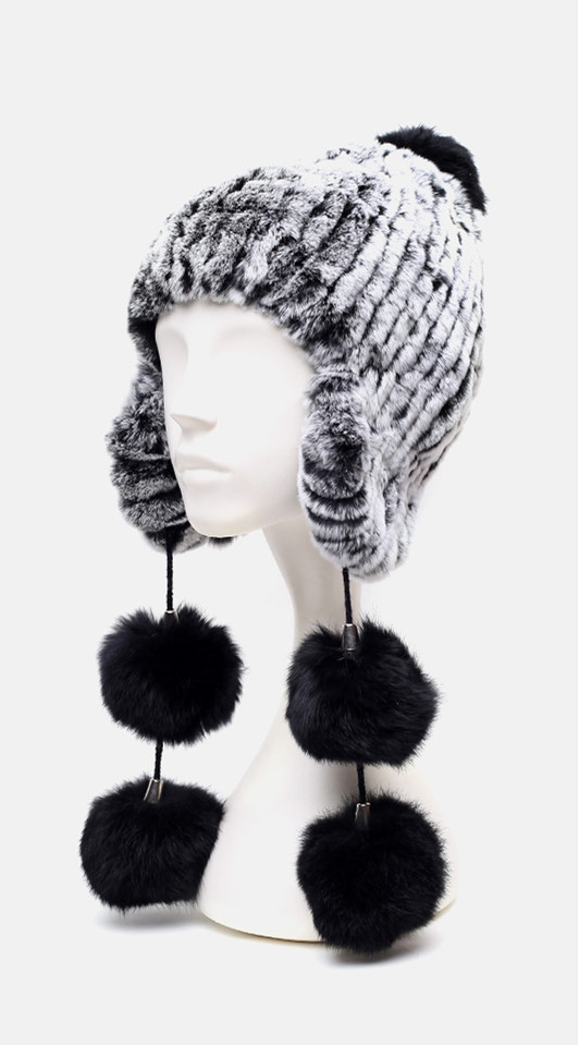 ФОТО HA142-New 2016warm hand knitted fur cap with genuine rex rabbit.Large four black ball  autumn winter Mongolia fur hat female